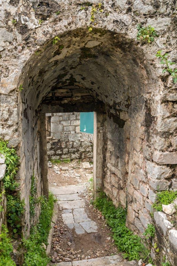 山腰的科托尔堡垒在老镇上在黑山 免版税库存图片