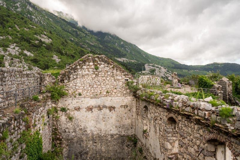 山腰的科托尔堡垒在老镇上在黑山 免版税库存照片