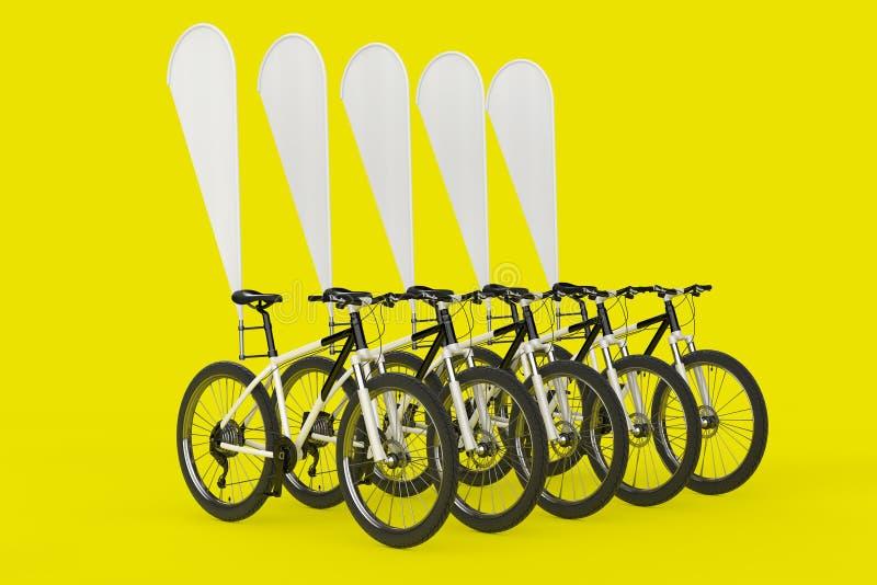 山自行车行有空白的横幅促进羽毛旗子的 3d翻译 向量例证