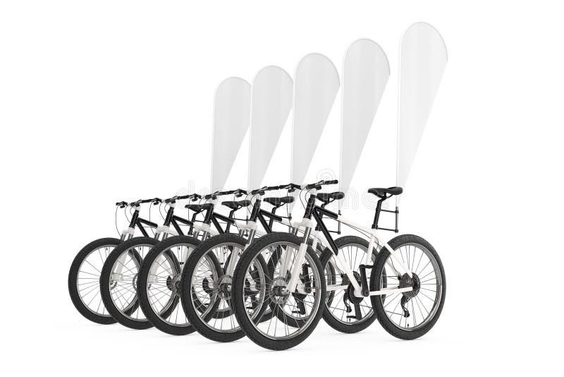 山自行车行有空白的横幅促进羽毛旗子的 3d翻译 皇族释放例证