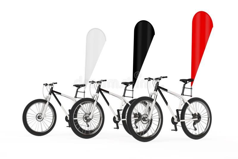 山自行车行有红色,黑白空白的横幅促进羽毛旗子的 3d翻译 向量例证