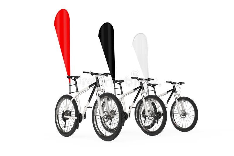 山自行车行有红色,黑白空白的横幅促进羽毛旗子的 3d翻译 库存例证