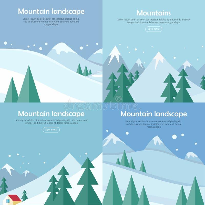山被设置的风景横幅 登山 向量例证