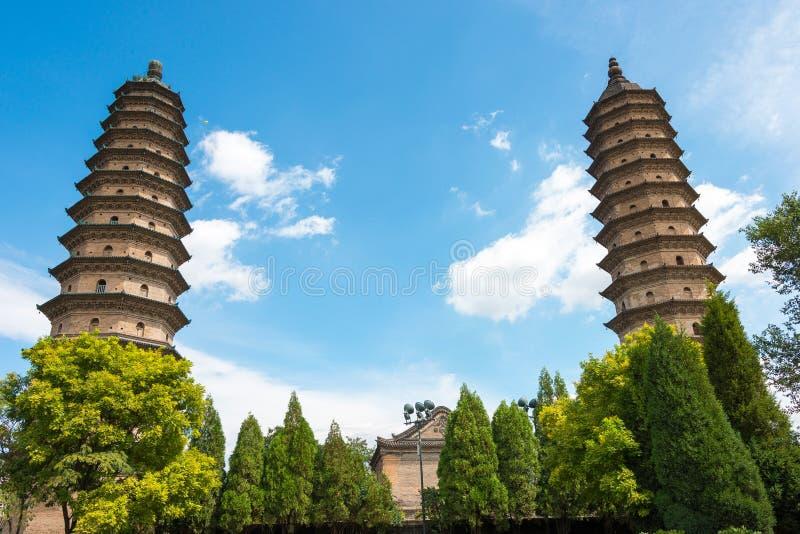 山西,中国- 2015年9月11日:双塔寺庙(Yongzuo Templ 库存照片