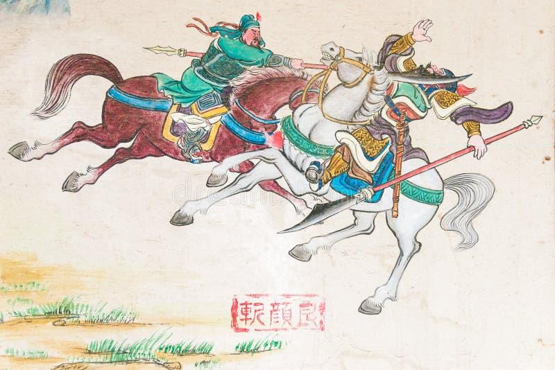 山西,中国- 2015年8月24日:在管国Wang寺庙(管国的墙壁艺术 免版税库存照片