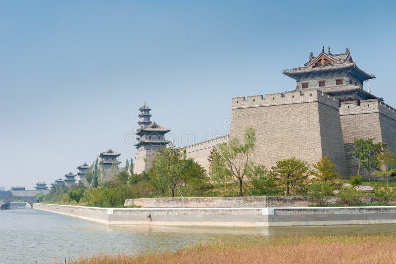 山西,中国- 2015年9月21日:大同市墙壁 著名Histor 图库摄影