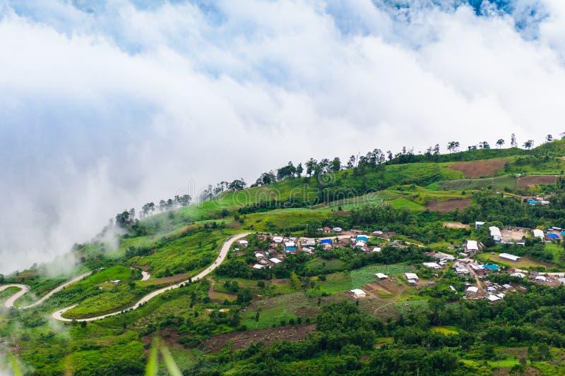 山路在(phu tubberk)在Phu Hin荣Kla国民同水准 图库摄影
