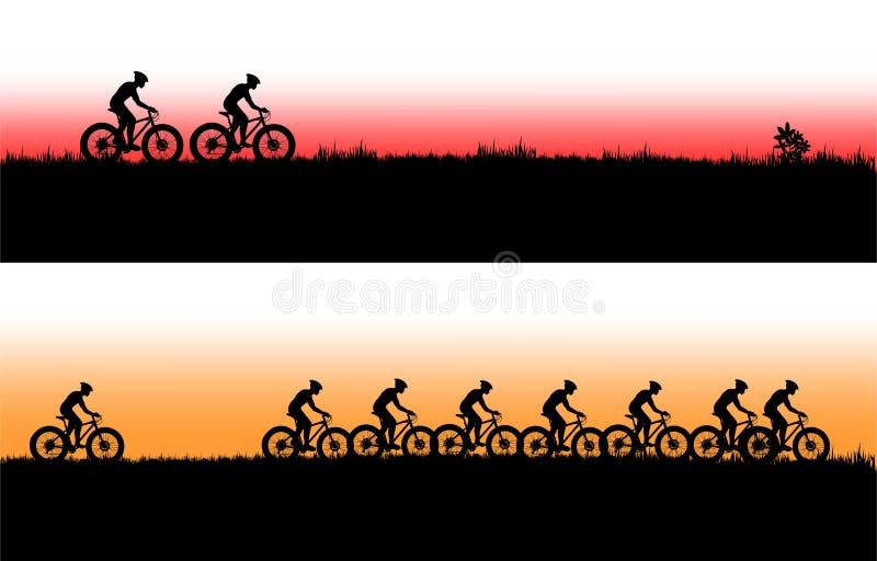 登山车横幅 向量例证