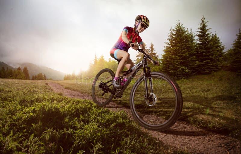 登山车骑自行车者 图库摄影