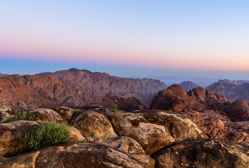 山近早晨风景摩西山,西奈埃及 库存照片