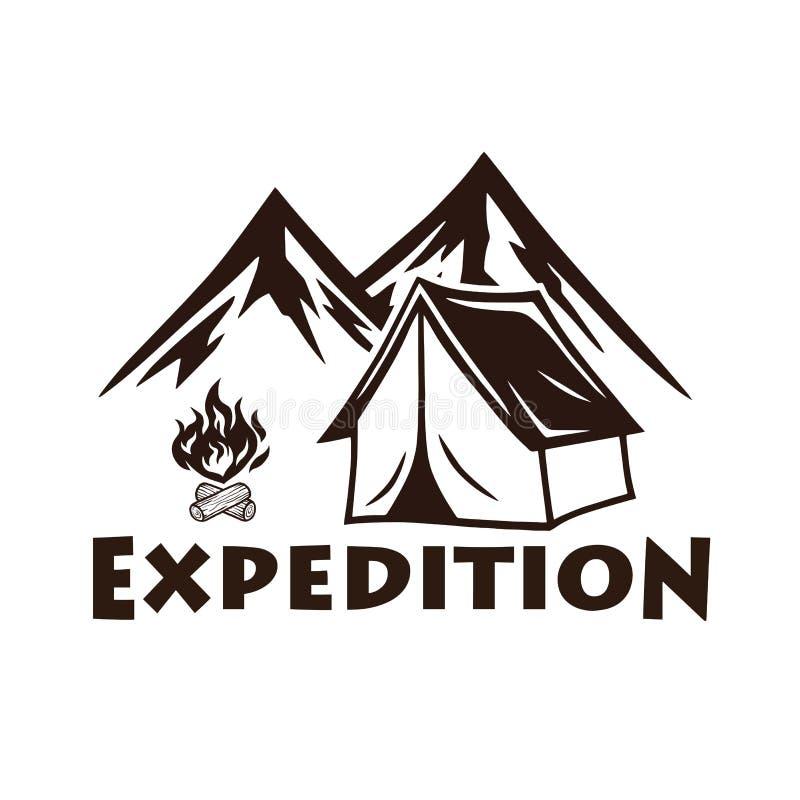 山野营,营火、传染媒介商标和标号组 体育和休闲的例证 向量例证