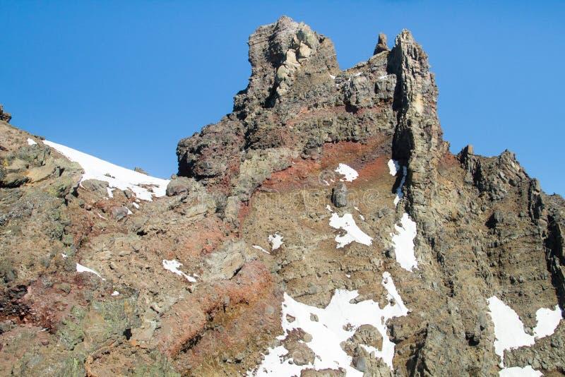 山顶石峰三手指的杰克,中央俄勒冈,美国 免版税库存图片