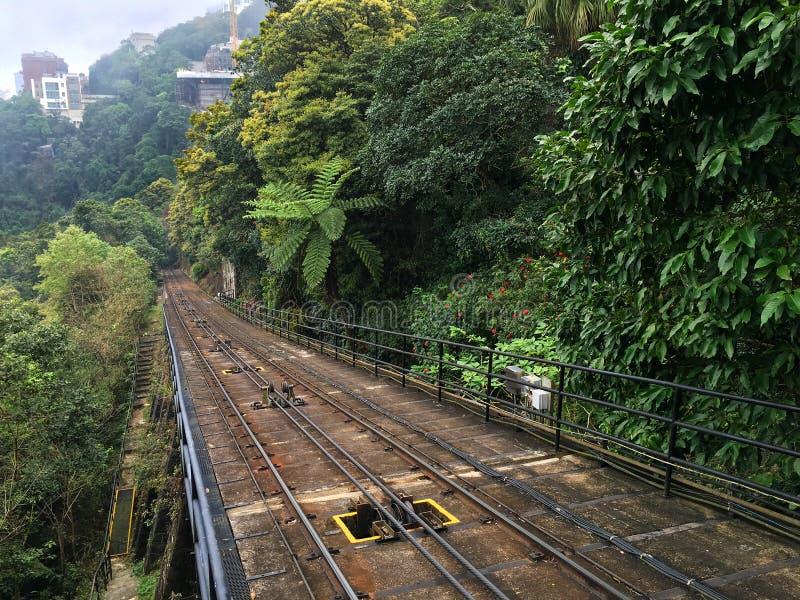 山顶缆车铁路在香港 免版税库存图片