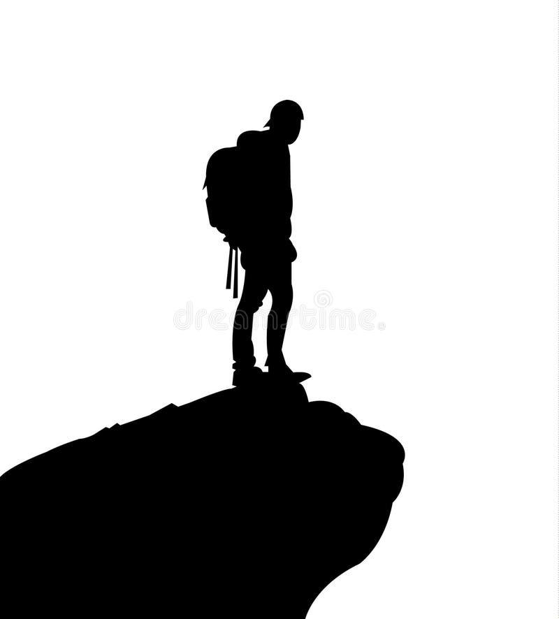 山顶面黑剪影的攀岩运动员,隔绝在白色 皇族释放例证