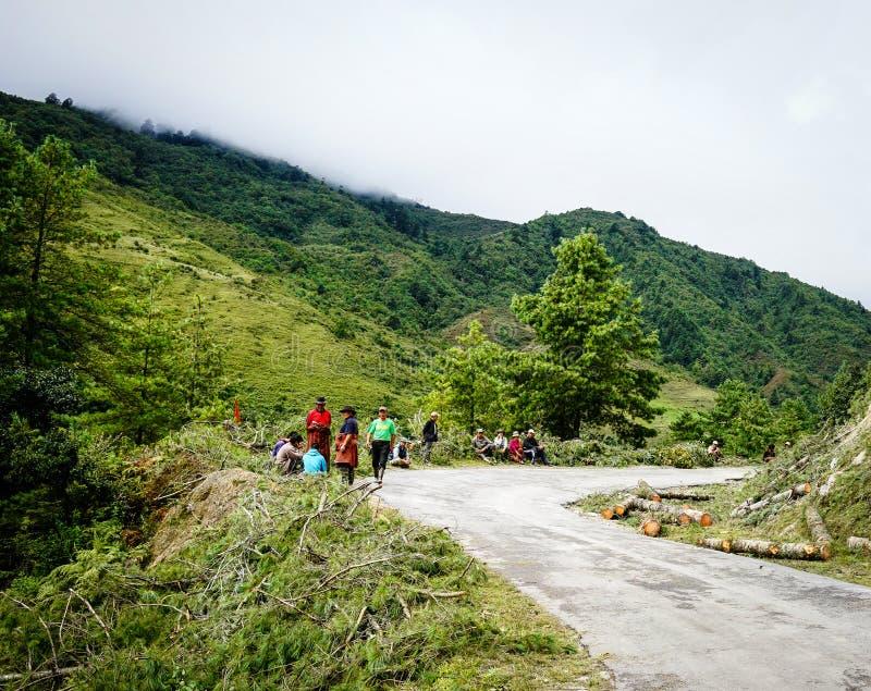山风景在不丹 免版税库存照片