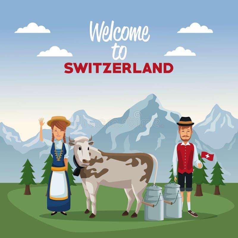 山风景瑞士的欢迎谷海报有传统服装的人和母牛的与金属刺激图片