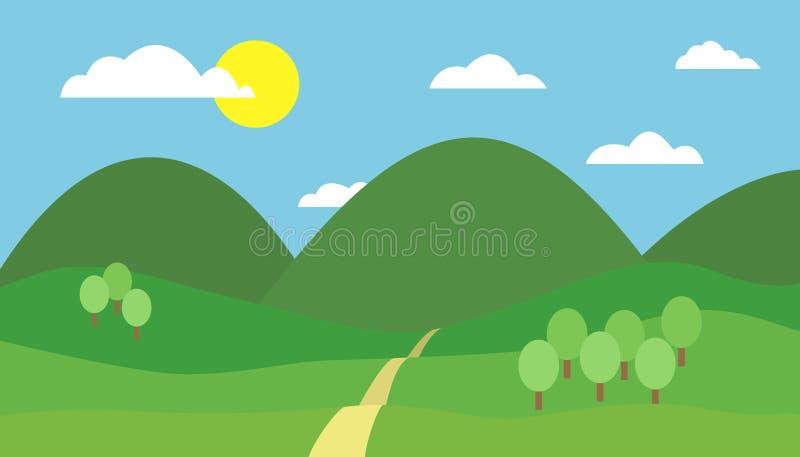 山风景的动画片五颜六色的例证与小山、道路和树的在与云彩和太阳的蓝天下 向量例证