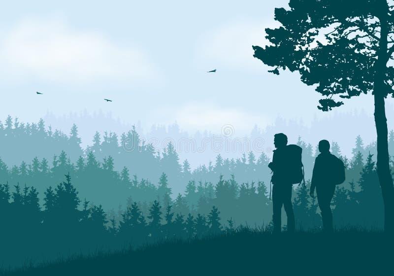山风景的现实例证与具球果森林和小山的在与白色云彩的清楚的蓝色和绿色天空下 皇族释放例证