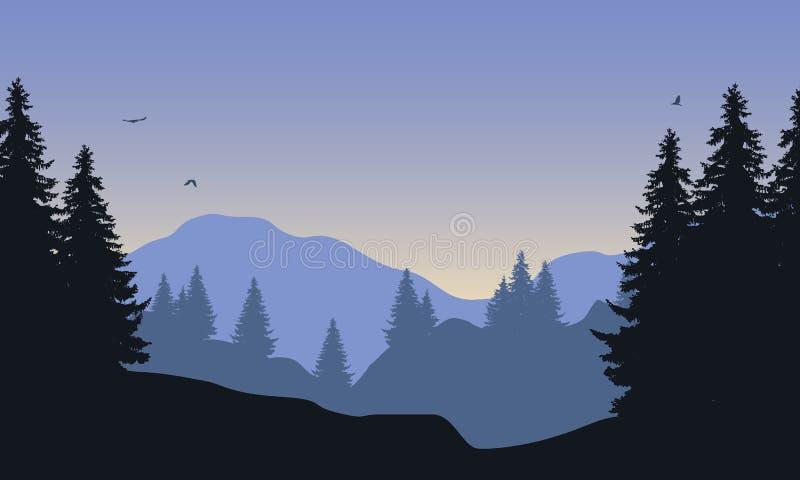 山风景的现实例证与森林的,在与飞鸟和朝阳的天空蔚蓝下,传染媒介 库存例证