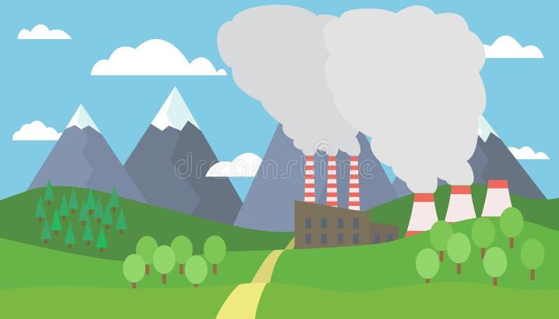 山风景的看法与小山和树与雪在峰顶和工厂的有抽烟的烟囱的 皇族释放例证