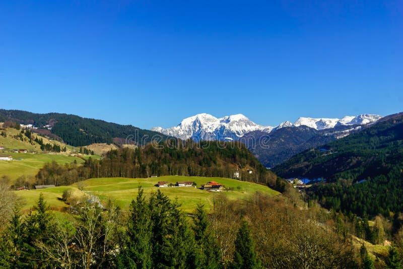 山风景Schoenau Koenigsee在巴伐利亚 免版税库存照片