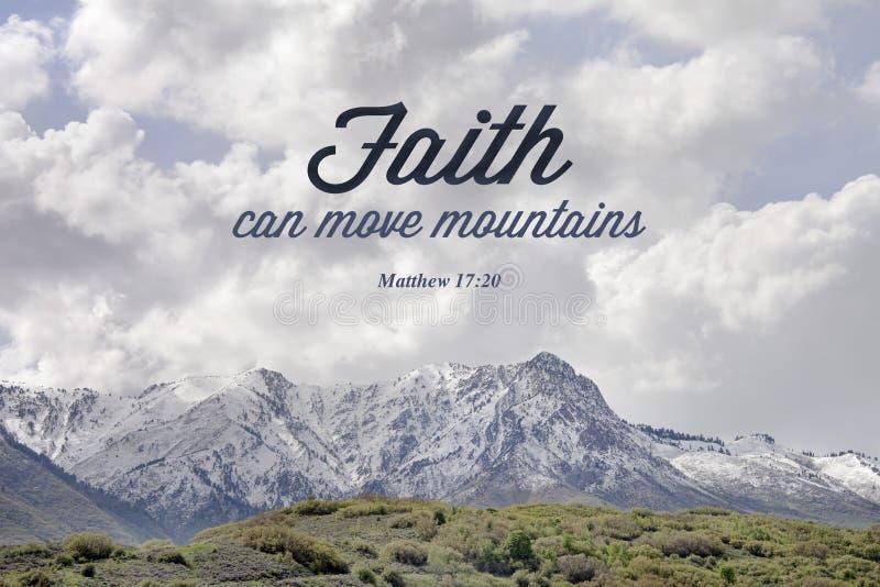山马修17:20圣经诗歌  免版税库存照片