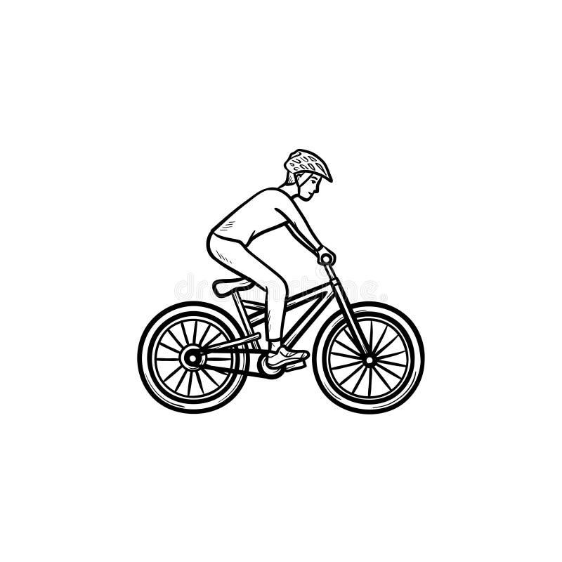 山骑自行车的人手拉的概述乱画象 向量例证