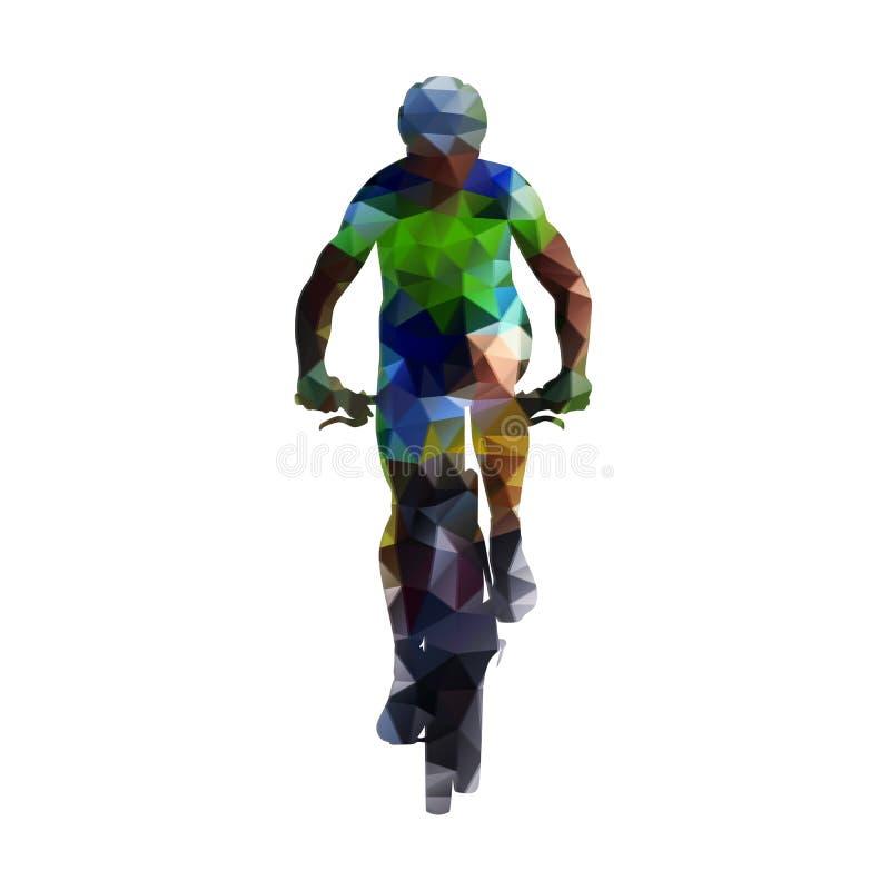 山骑自行车的人摘要几何剪影 皇族释放例证