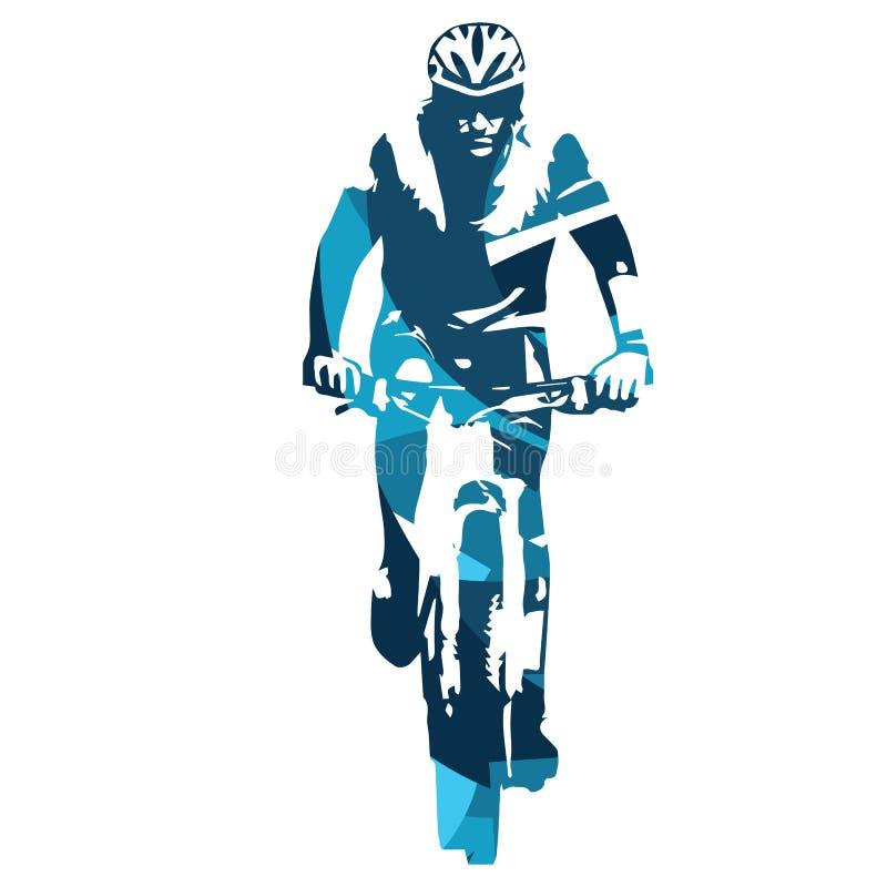 山骑自行车的人正面图 皇族释放例证