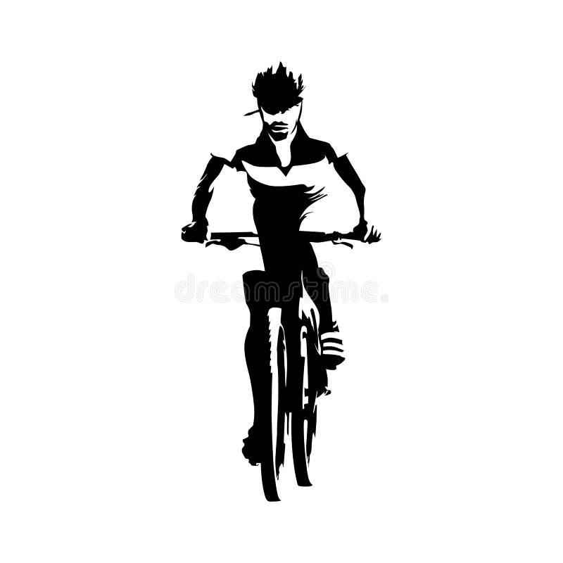 山骑自行车的人,抽象传染媒介剪影 向量例证