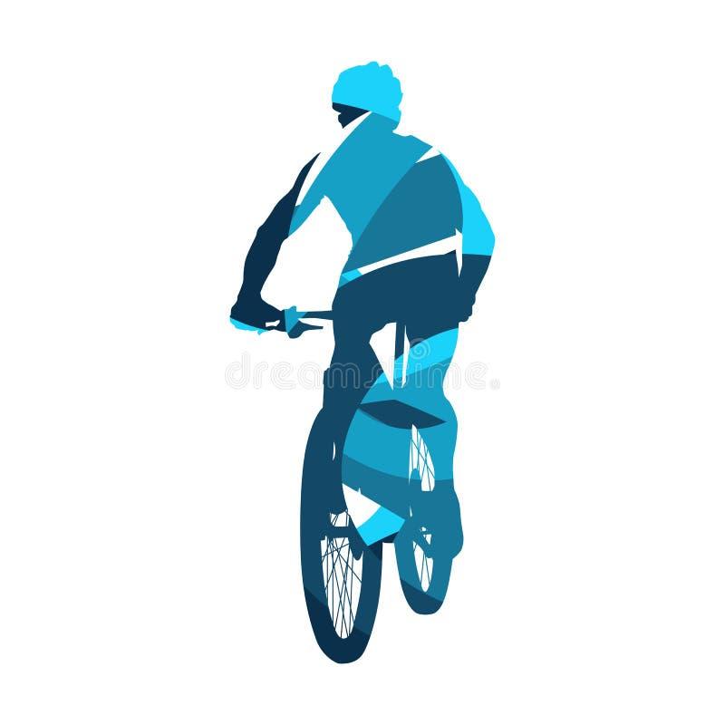 山骑自行车的人,抽象蓝色循环的剪影 皇族释放例证