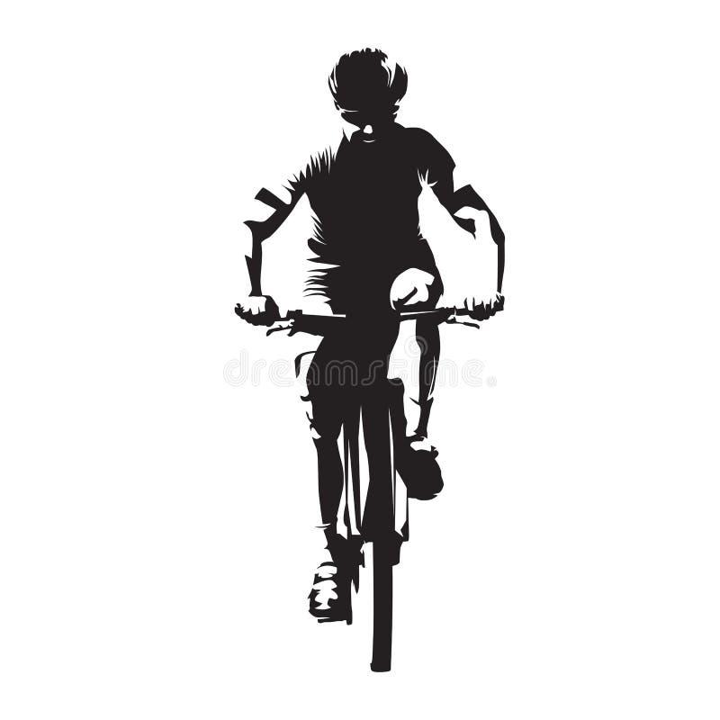 山骑自行车的人,正面图,抽象传染媒介剪影 向量例证