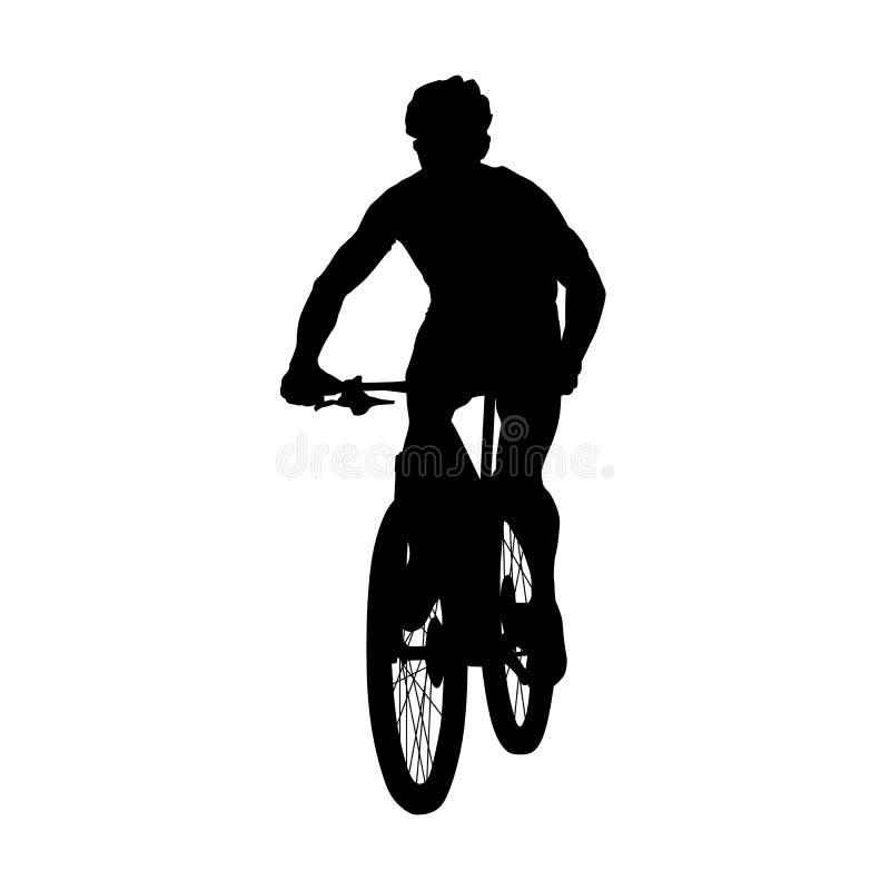 山骑自行车的人,骑自行车者传染媒介剪影 皇族释放例证