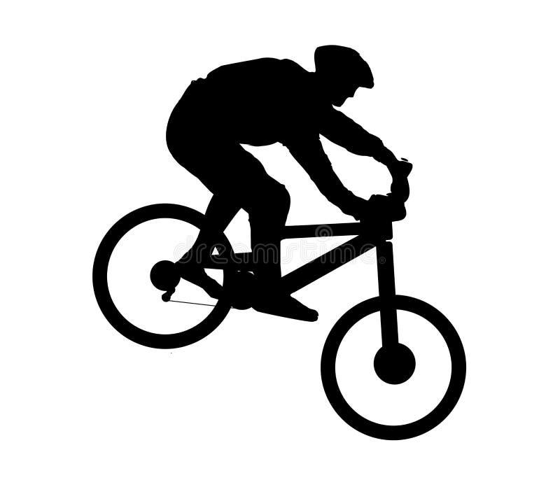 山骑自行车的人 库存例证