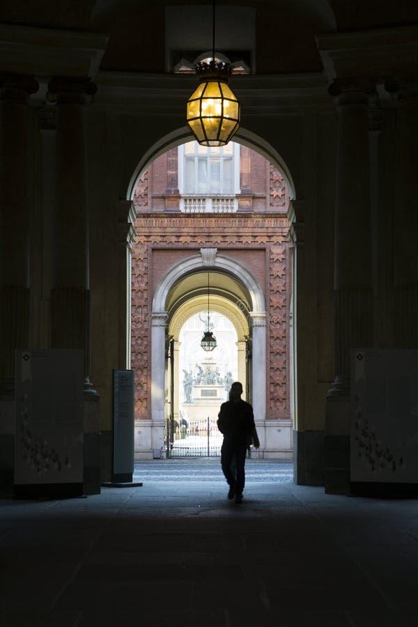山麓-都灵-意大利- Palazzo卡里尼亚诺 免版税库存照片