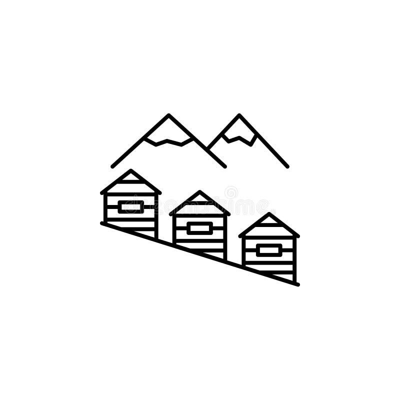 山,房子概述象 冬季体育例证的元素 标志和标志象可以为网,商标,流动应用程序使用, 向量例证
