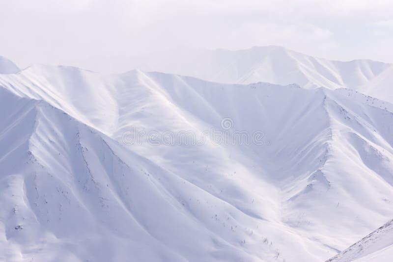 山,早晨,冬天,雪风景 免版税图库摄影