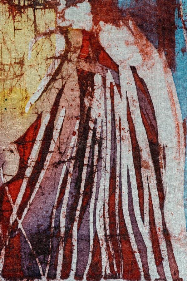 山,热的蜡染布,背景纹理,手工制造在丝绸,抽象超现实主义艺术 免版税库存图片