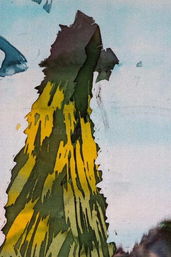 山,热的蜡染布,背景纹理,手工制造在丝绸 库存例证
