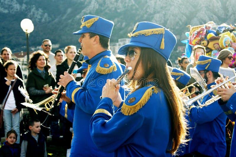 黑山,科托尔- 03/13/2016 :市的市政乐队科托尔 库存图片