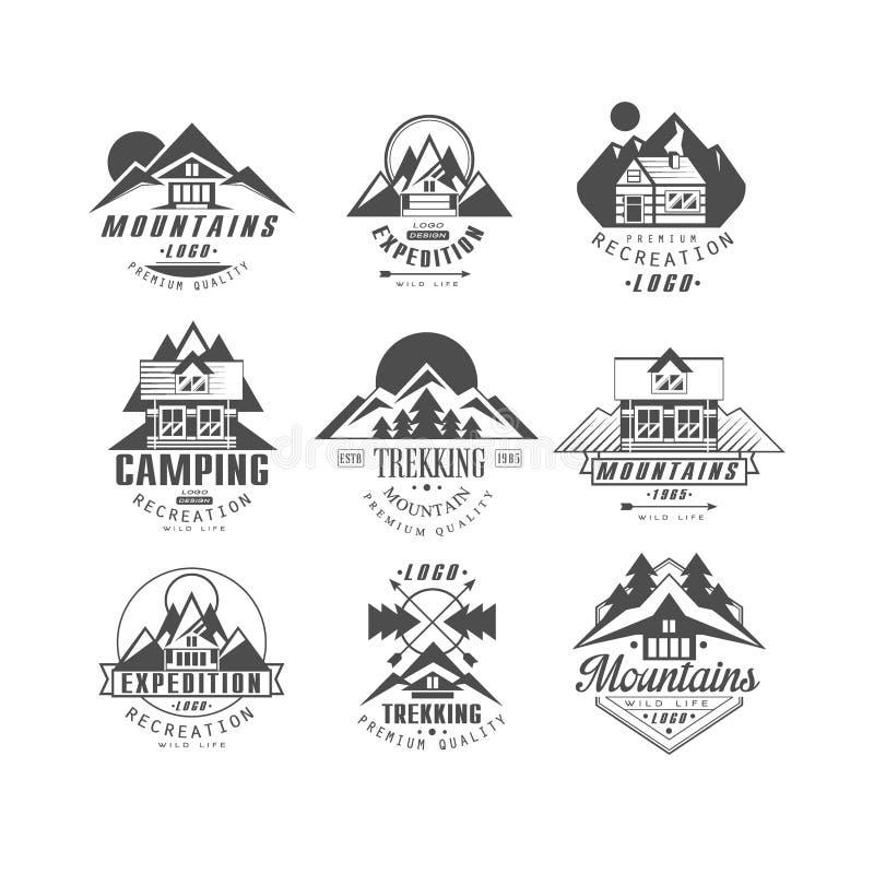 山,远征商标集合,野营,在单色样式传染媒介例证的迁徙的减速火箭的徽章在白色 库存例证
