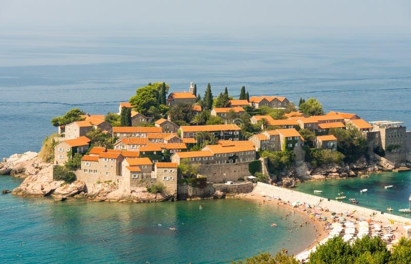 黑山:圣斯蒂芬的海岛 库存图片
