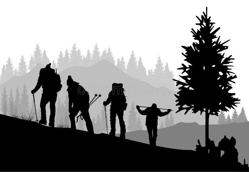 登山 向量例证