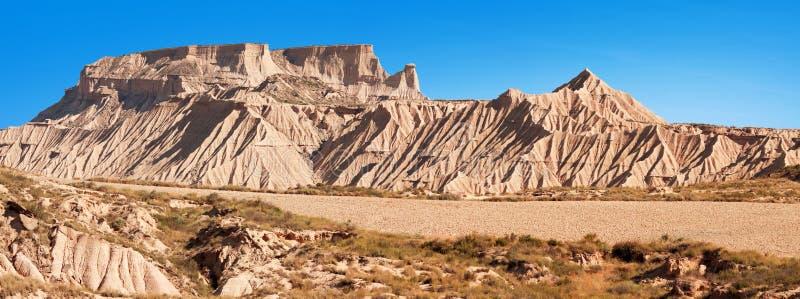山Castildetierra在Bardenas Reales自然公园, Navarra, 图库摄影