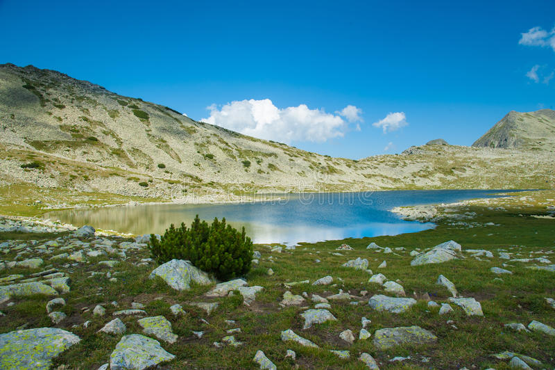 山Pirin Tevno湖风景 免版税库存图片