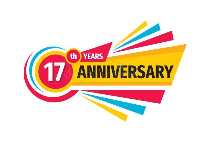 17岁生日横幅商标设计 十七年周年徽章象征 抽象几何海报 向量例证