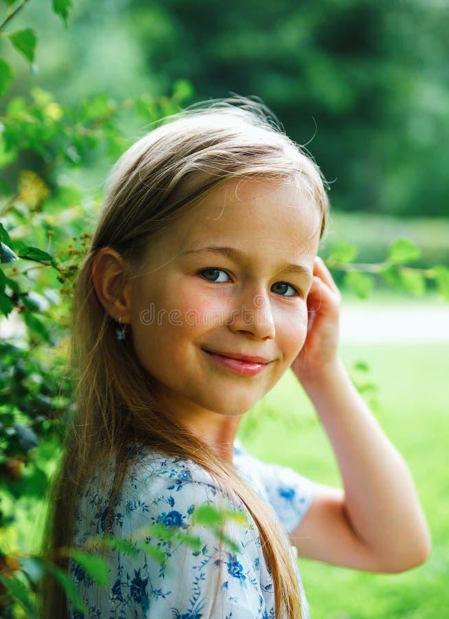 8岁画象女孩 库存照片