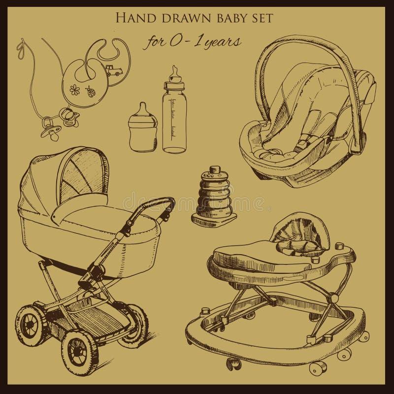 1-2岁设置的减速火箭的手拉的婴孩 皇族释放例证