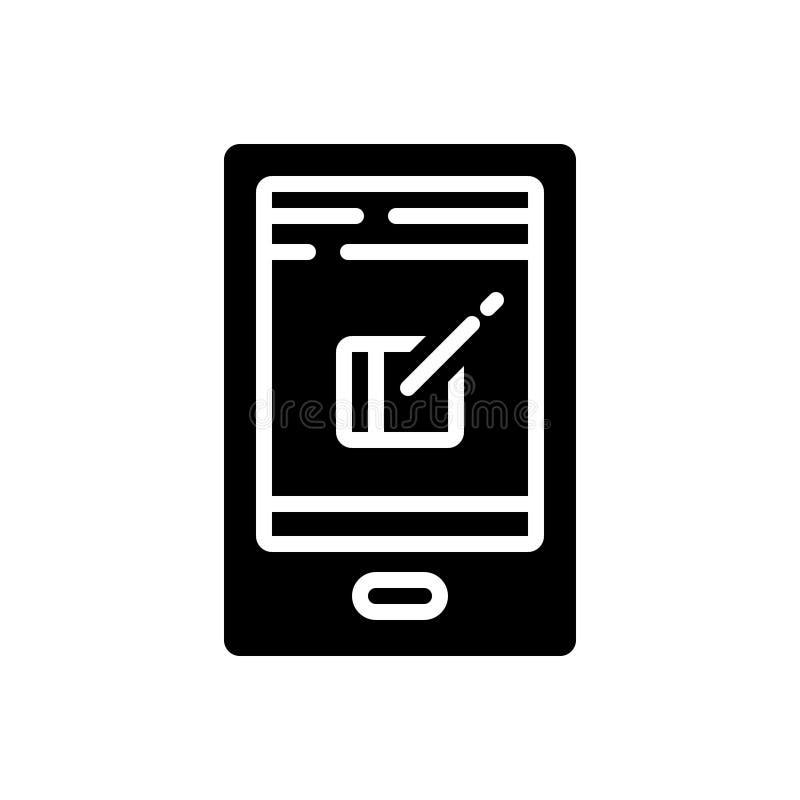 岗位、信件和消息的黑坚实象 向量例证