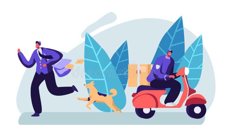 岗位明确送货服务 男性邮差字符佩带制服和盖帽运输小包的和邮件徒步和乘滑行车 向量例证